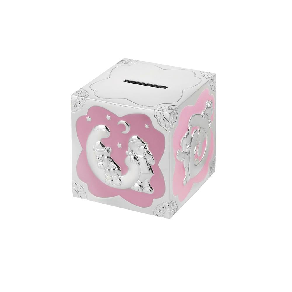 3 Inch Teddy Pattern Cube Christening Occasions Money Box