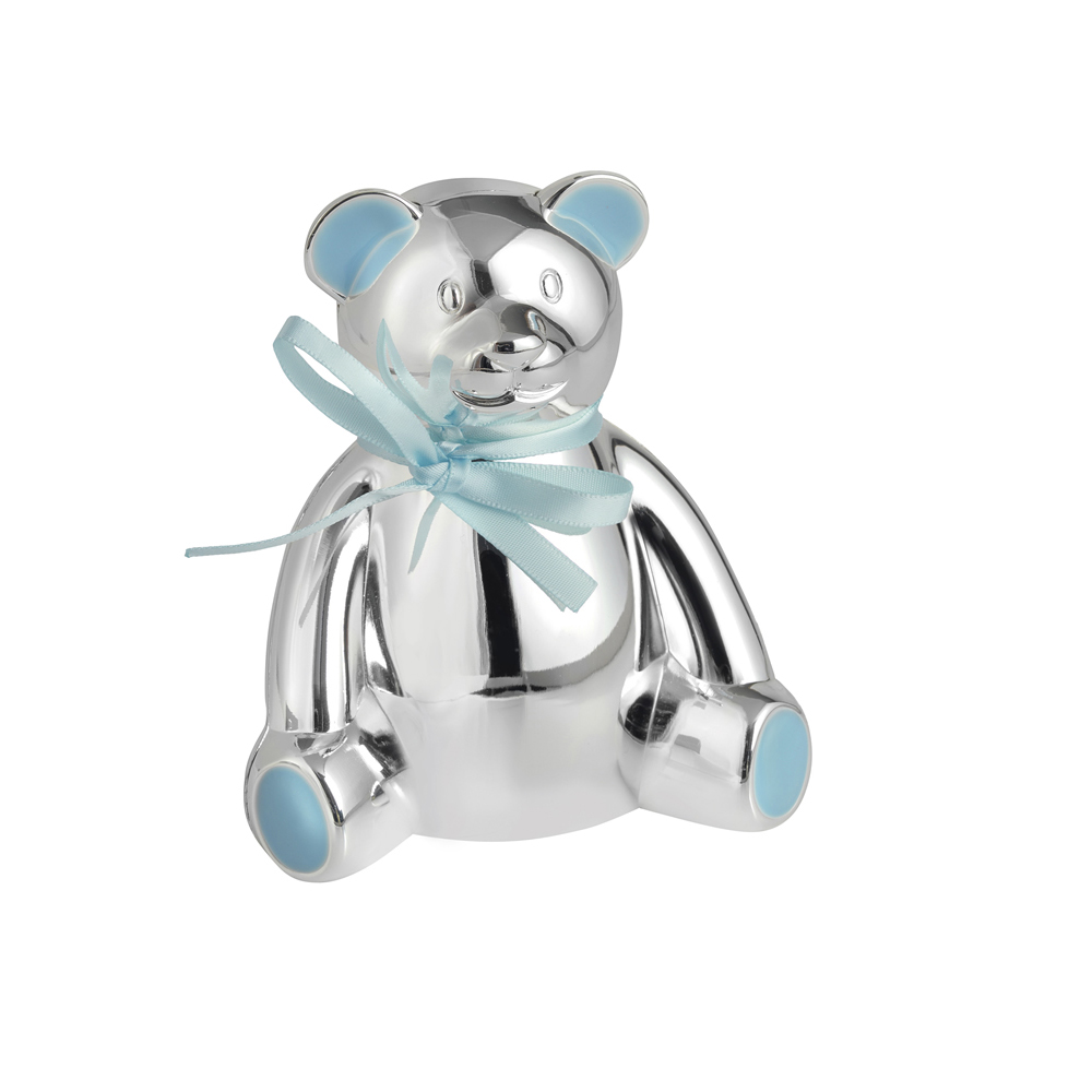 4 Inch Teddy Bear With Blue Bow Christening Occasions Money Box