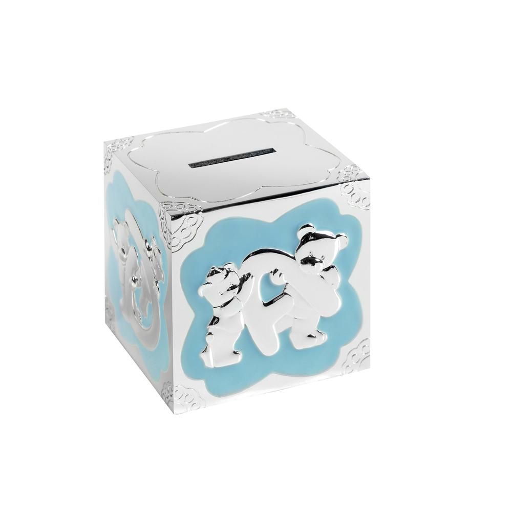3 Inch Blue Teddy Pattern Cube Christening Occasions Money Box