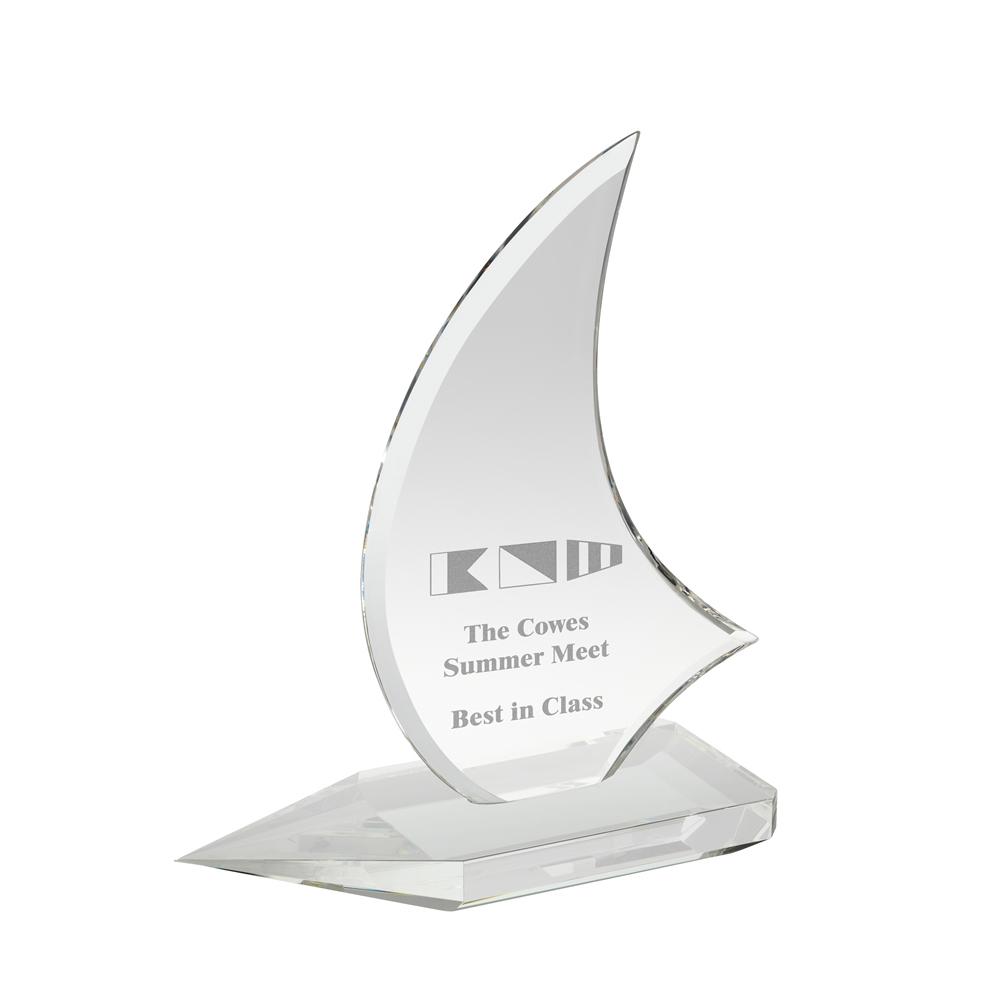 10 Inch Yacht Sail Crystal Award