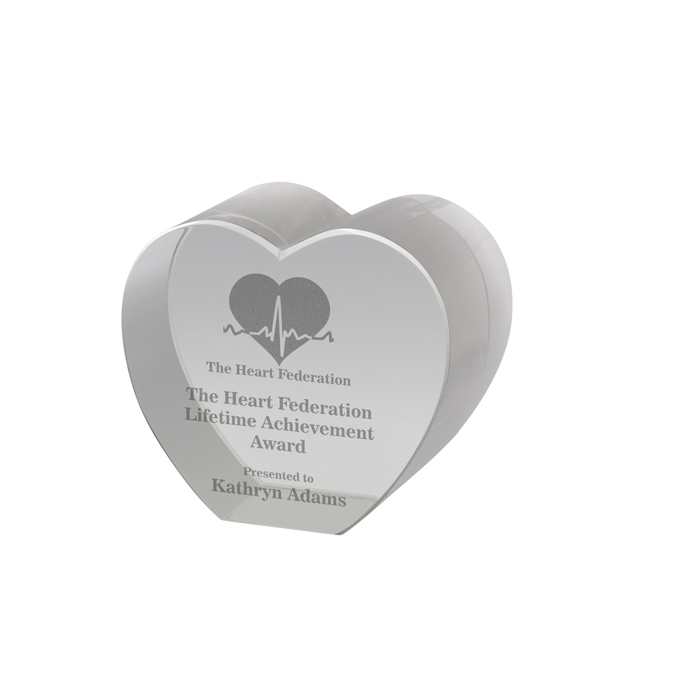 4 x 2 Inch Solid Heart Crystal Award