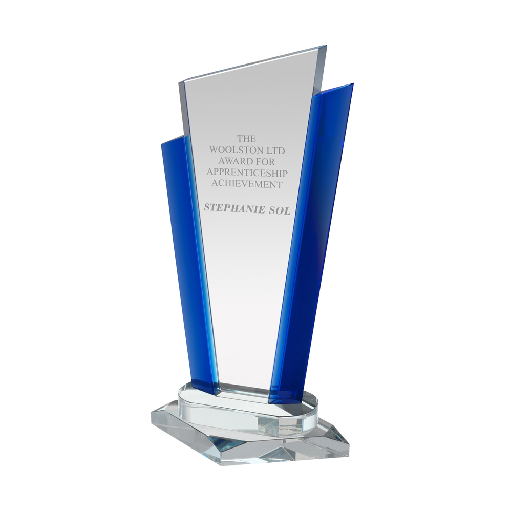 11 Inch Clear & Blue Border Crystal Award