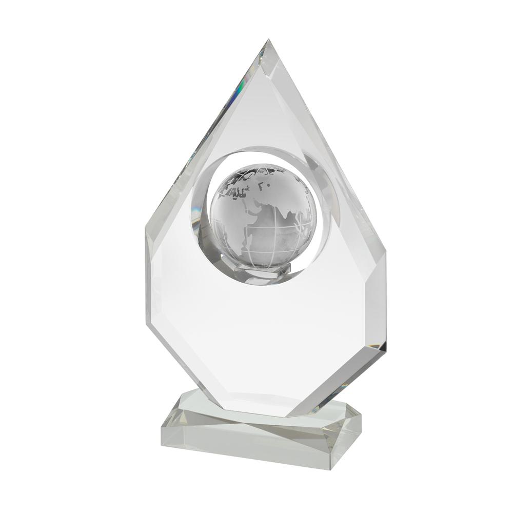10 Inch Globe Within Shield Crystal Award