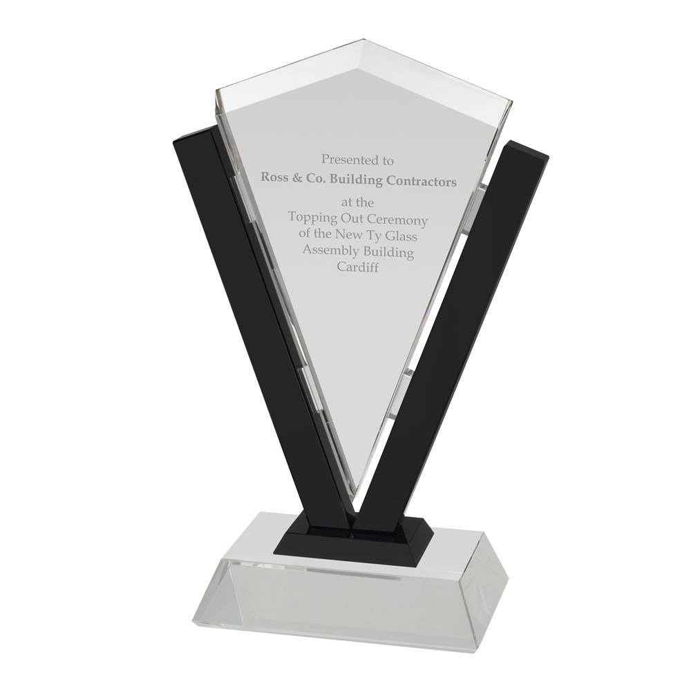 12 Inch Clear & Black Border Triangular Crystal Award