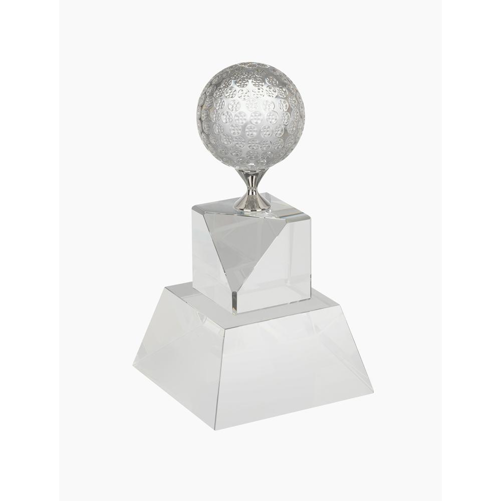 7 Inch Tall Stand & Metal Tee Golf Crystal Award