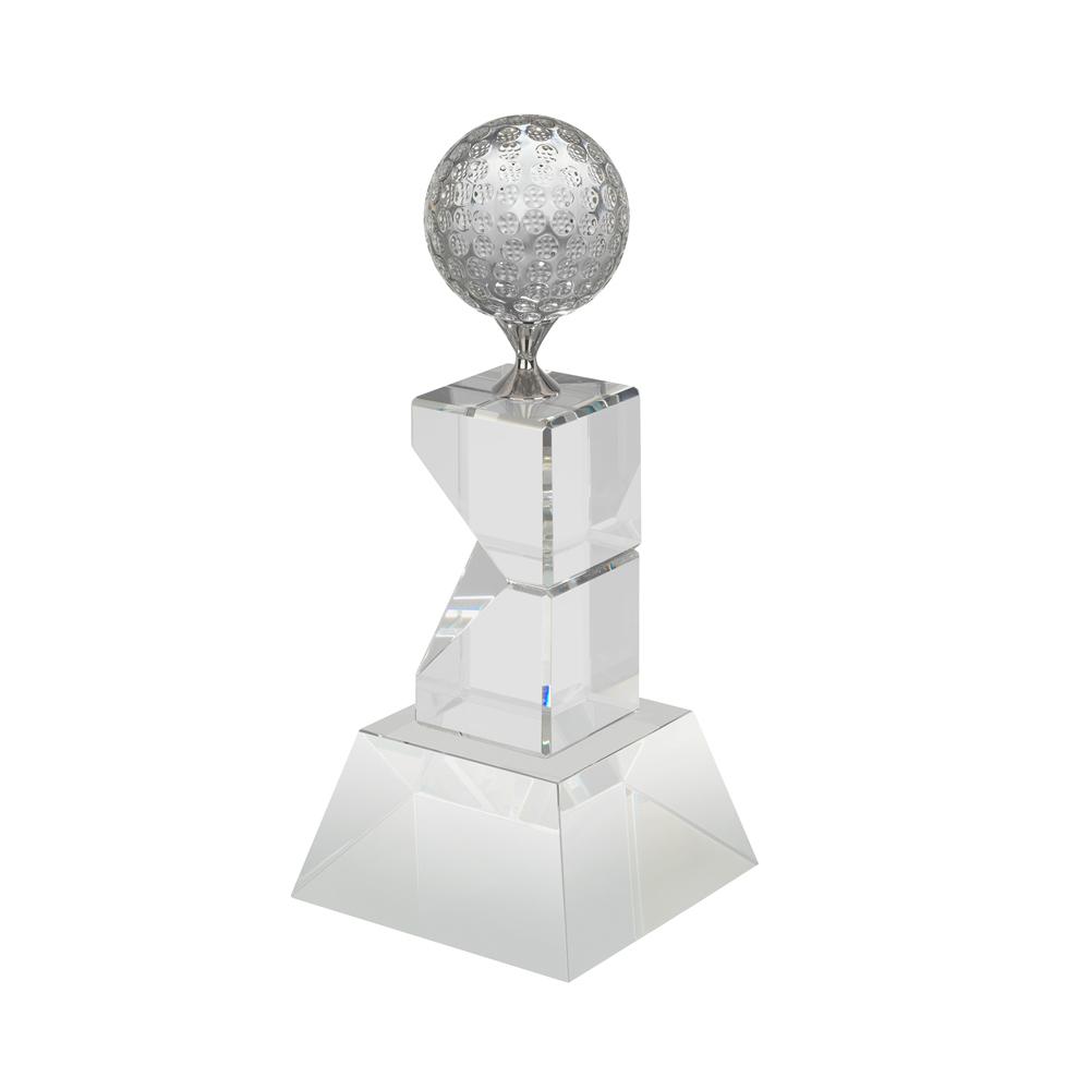 9 Inch Tall Stand & Metal Tee Golf Crystal Award