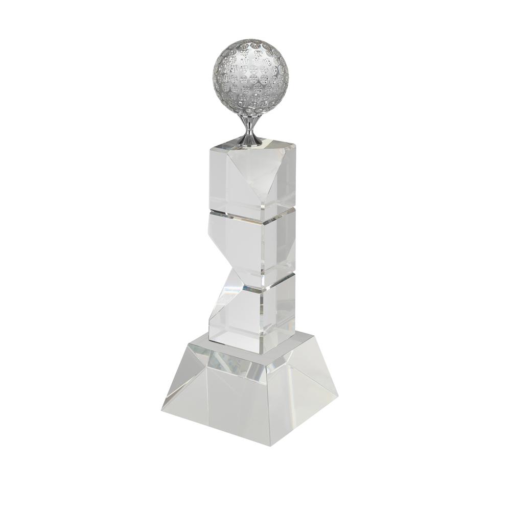 11 Inch Tall Stand & Metal Tee Golf Crystal Award