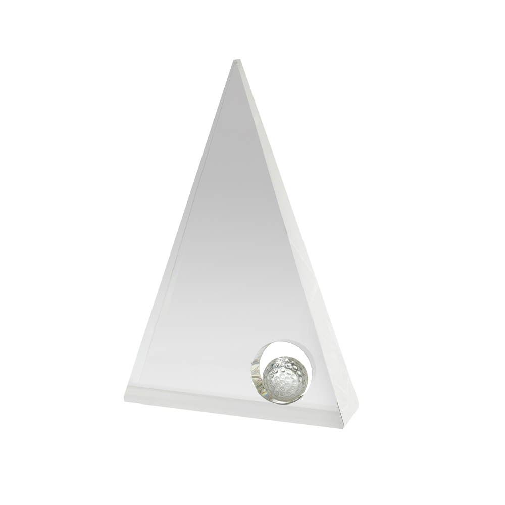 8 Inch Pyramid Golf Crystal Award