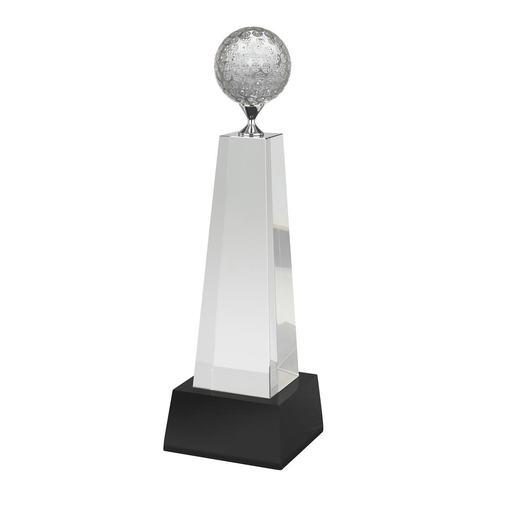 10 Inch Metal Tee Golf Crystal Award