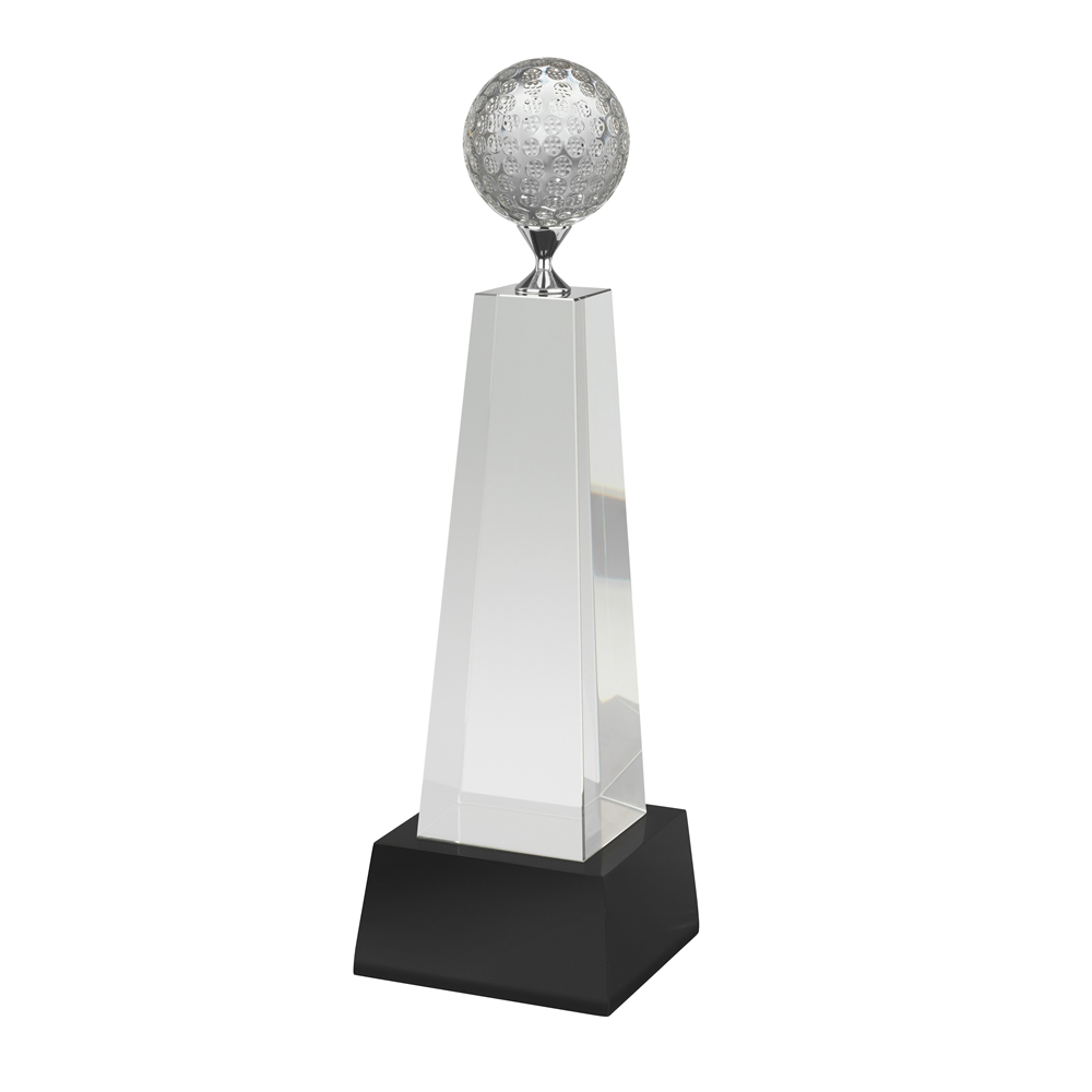 11 Inch Metal Tee Golf Crystal Award