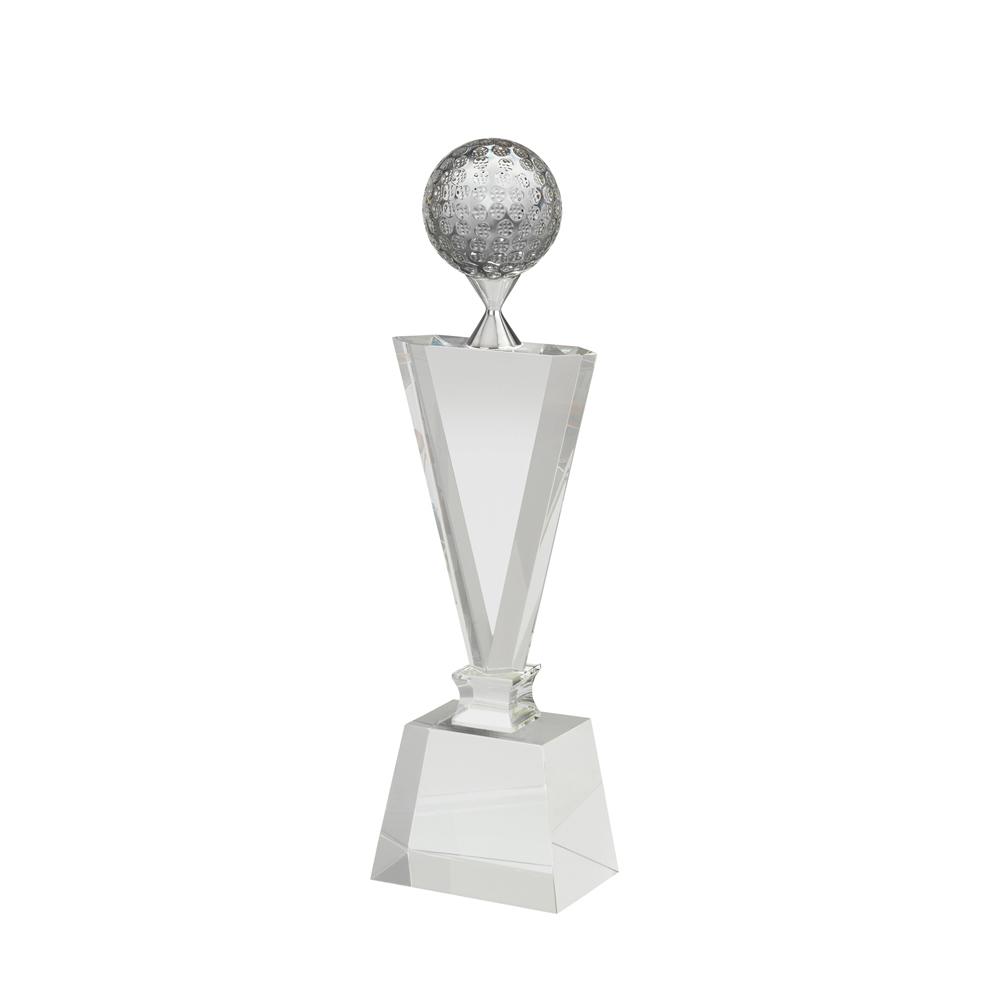 9 Inch Golf Ball On Tee Golf Crystal Award