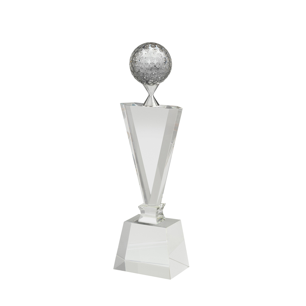 10 Inch Golf Ball On Tee Golf Crystal Award