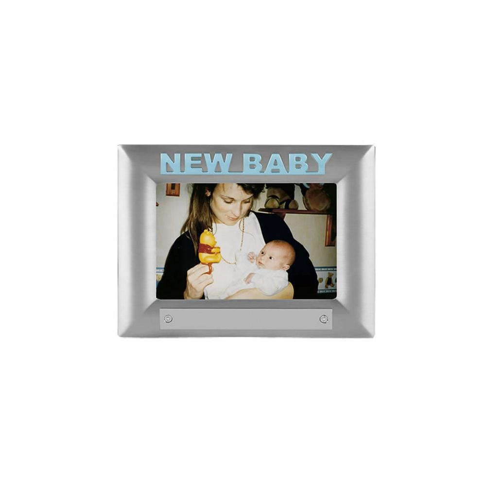 7 x 5 Inch Blue New Baby Satin Finish Christening Jaunlet Photo Frame
