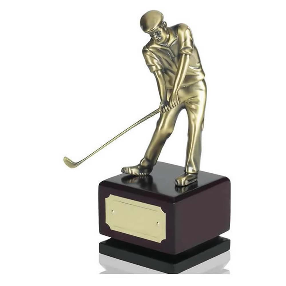 9 Inch Antique Brass Golfer Golf Award