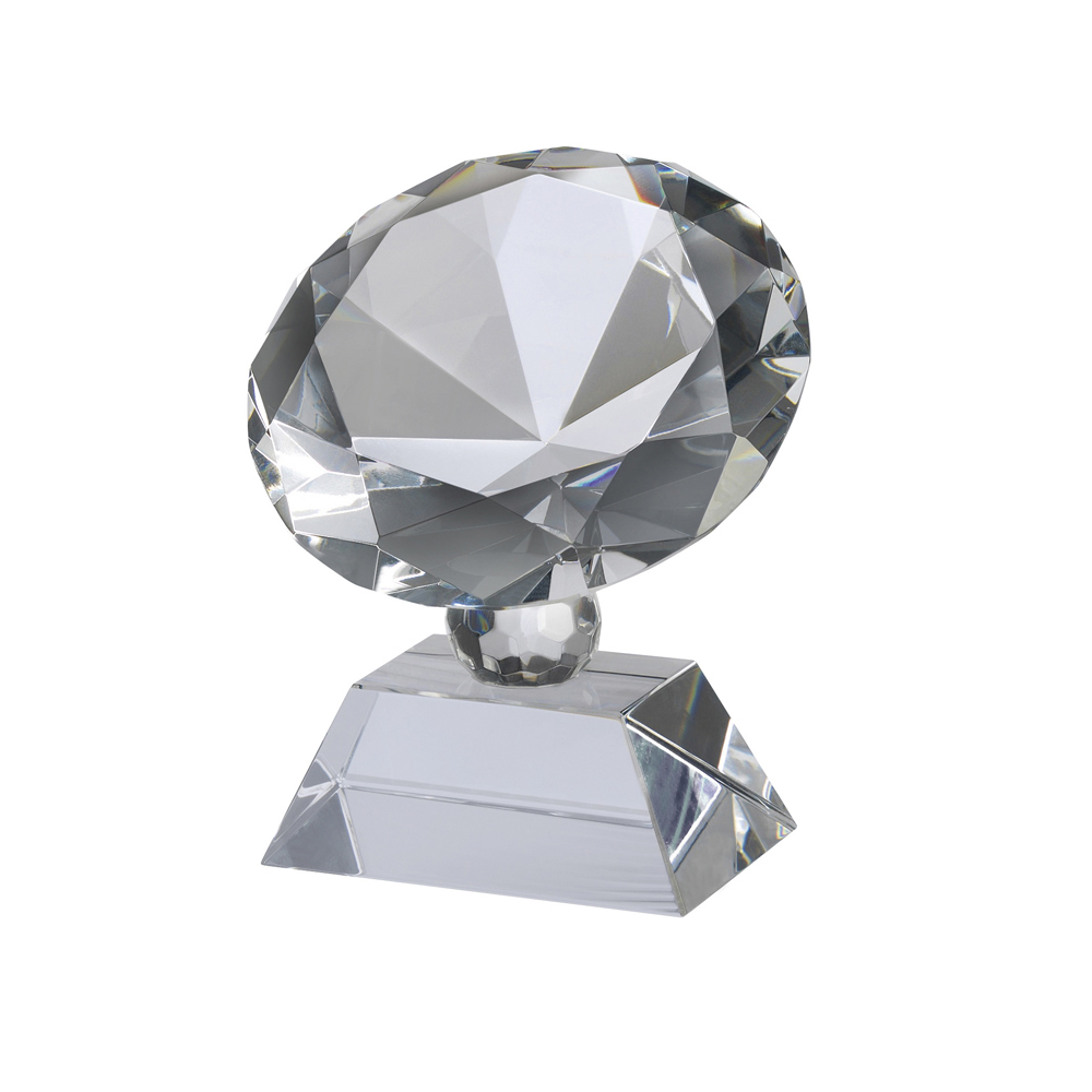 4 Inch Diamond Shape On Base Crystal Award