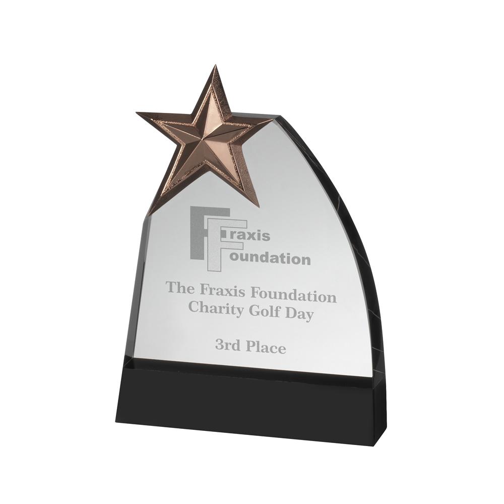 8 Inch Curved Side & Metal Star Crystal Award