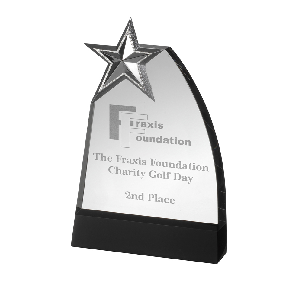 9 Inch Curved Side & Metal Star Crystal Award