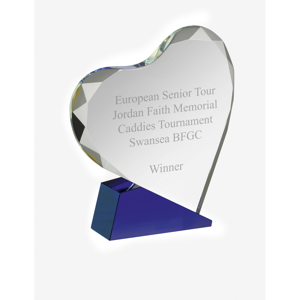 5 Inch Heart Crystal Award