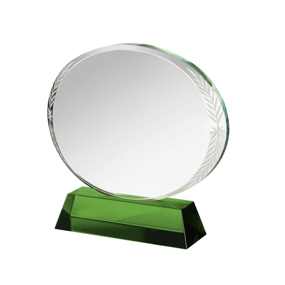 5 Inch Circular Clear & Green Crystal Award