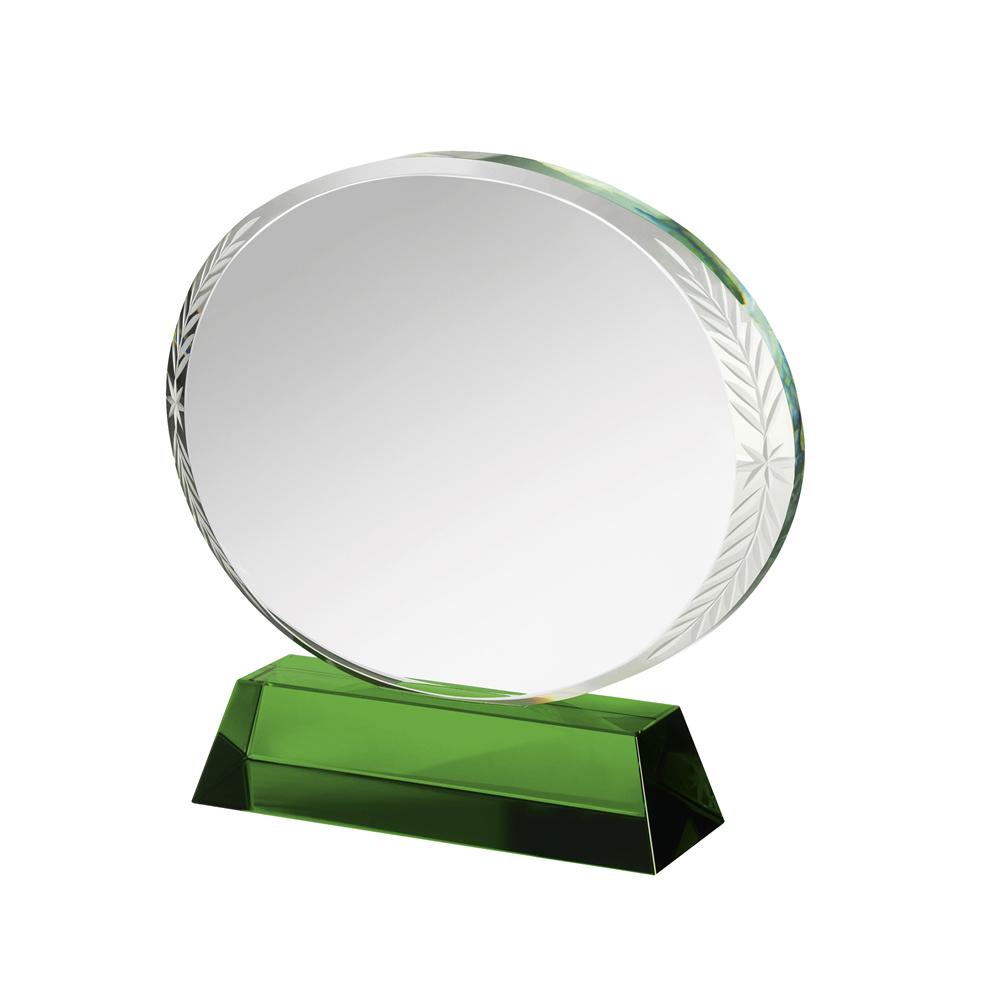 6 Inch Circular Clear & Green Crystal Award