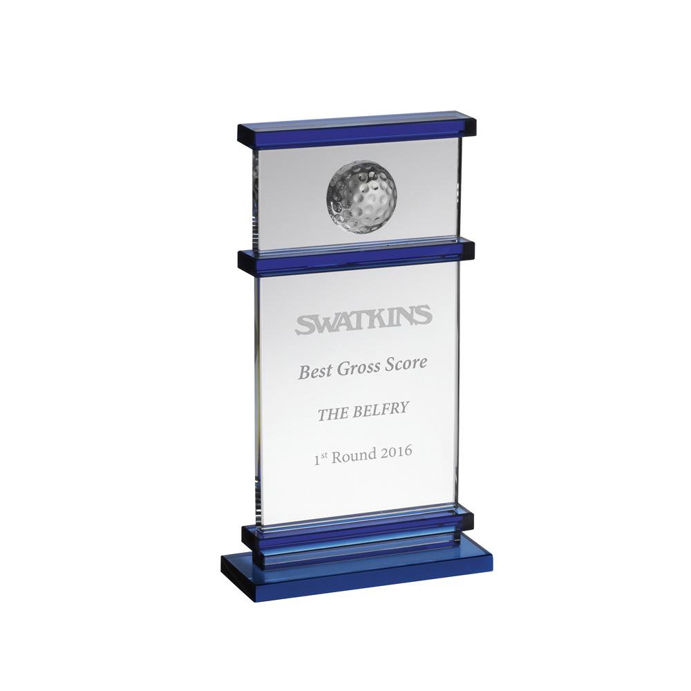 6 Inch Golf Ball Embedded Golf Crystal Award