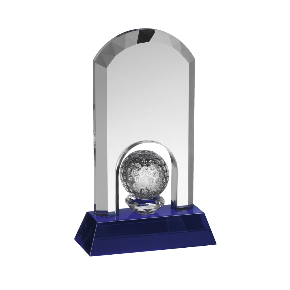 6 Inch Golf Ball Under Arch Golf Crystal Award