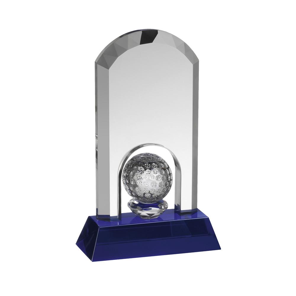 8 Inch Golf Ball Under Arch Golf Crystal Award