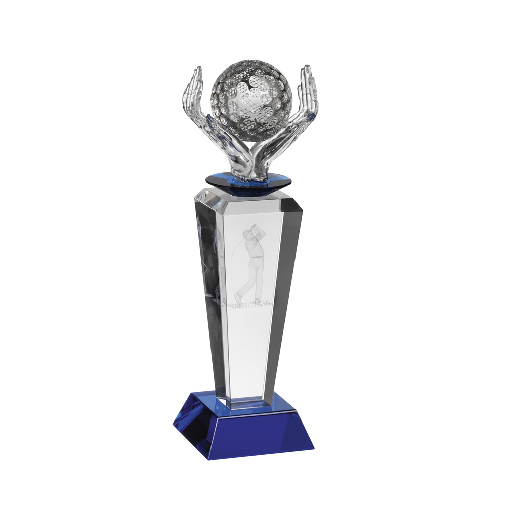 9 Inch Ball In Hand Golf Crystal Award