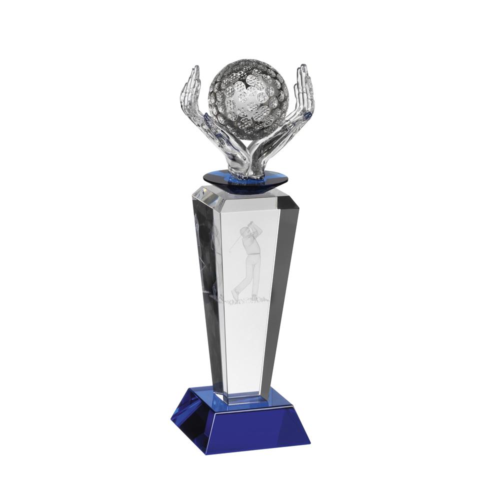 10 Inch Ball In Hand Golf Crystal Award