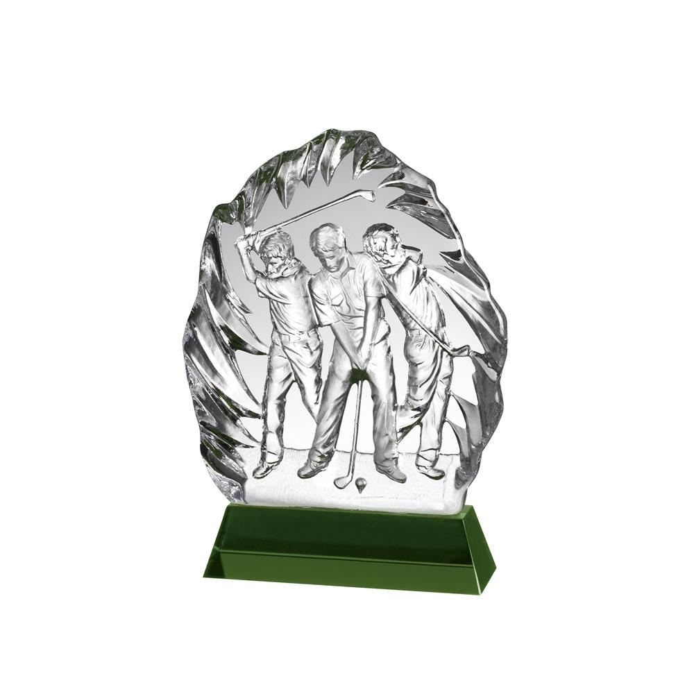 8 Inch Three Golfers Iceberg Golf Crystal Award