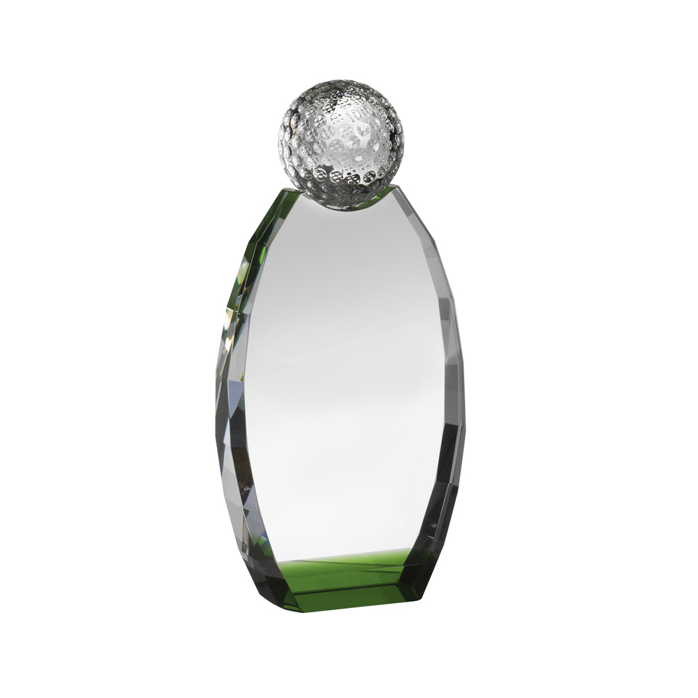 8 Inch Freestanding Oval Golf Crystal Award
