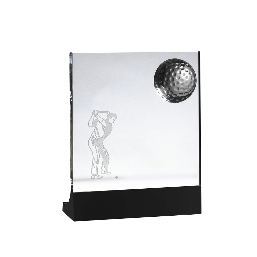6 Inch Golfer Image Lasered Inside Golf Crystal Award