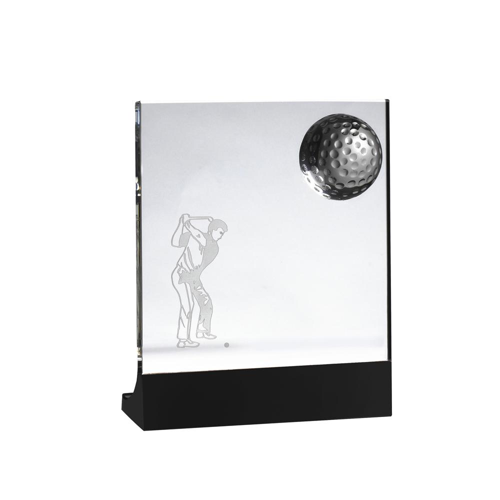 7 Inch Golfer Image Lasered Inside Golf Crystal Award