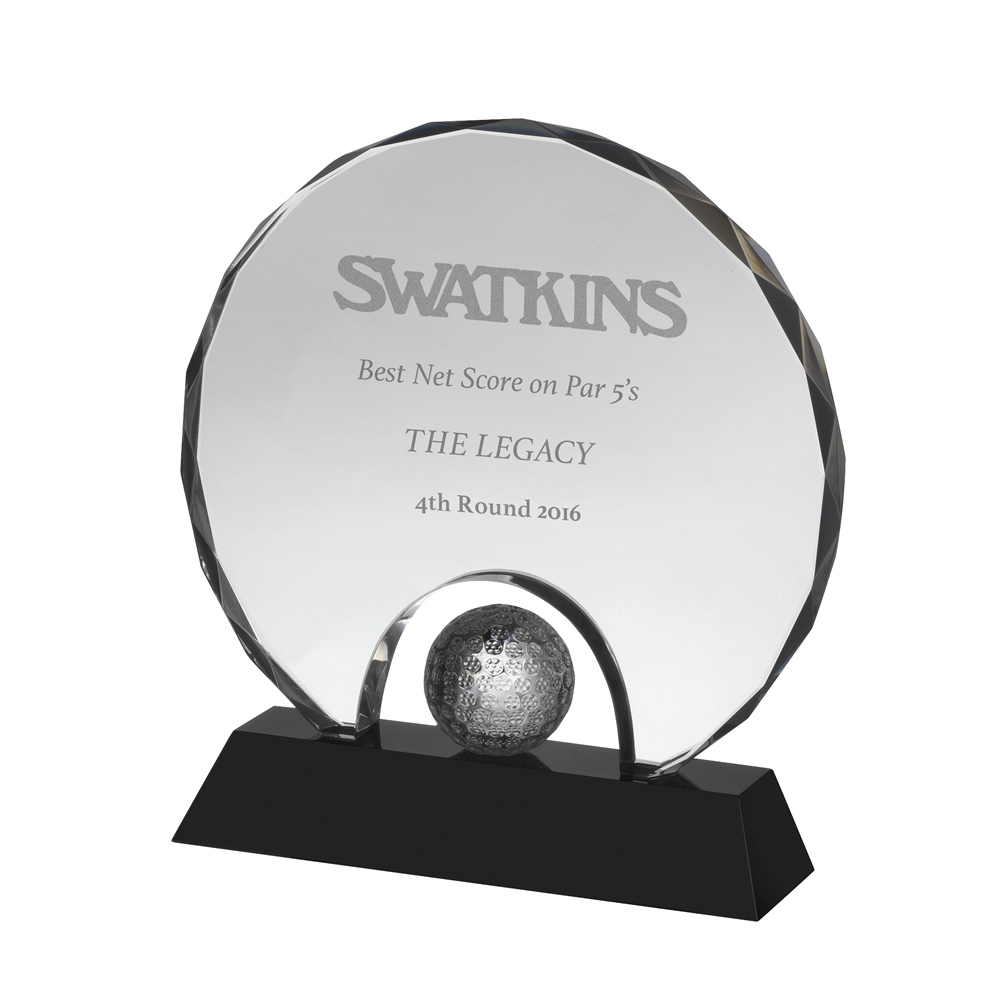 6 Inch Circular With Golf Ball Golf Crystal Award