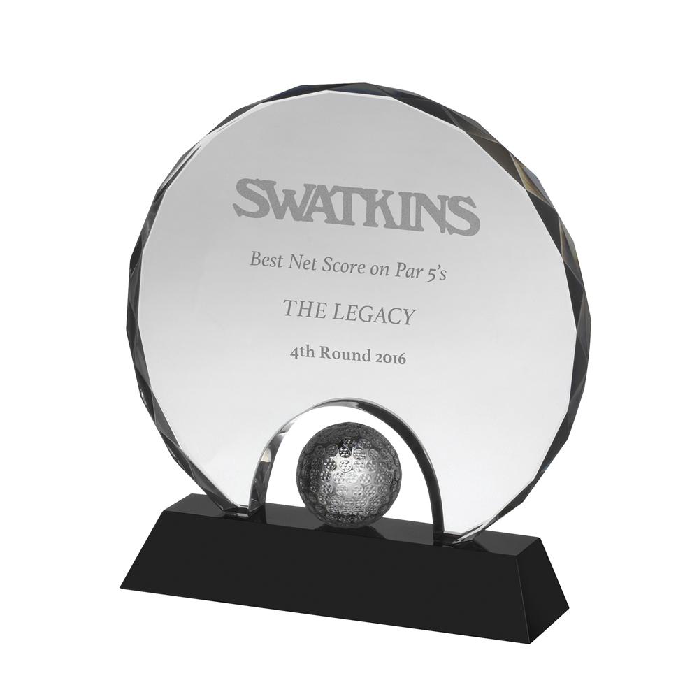 7 Inch Circular With Golf Ball Golf Crystal Award