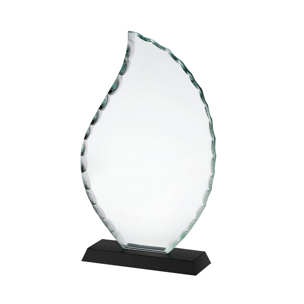 9 Inch Clear & Black Flame Crystal Award