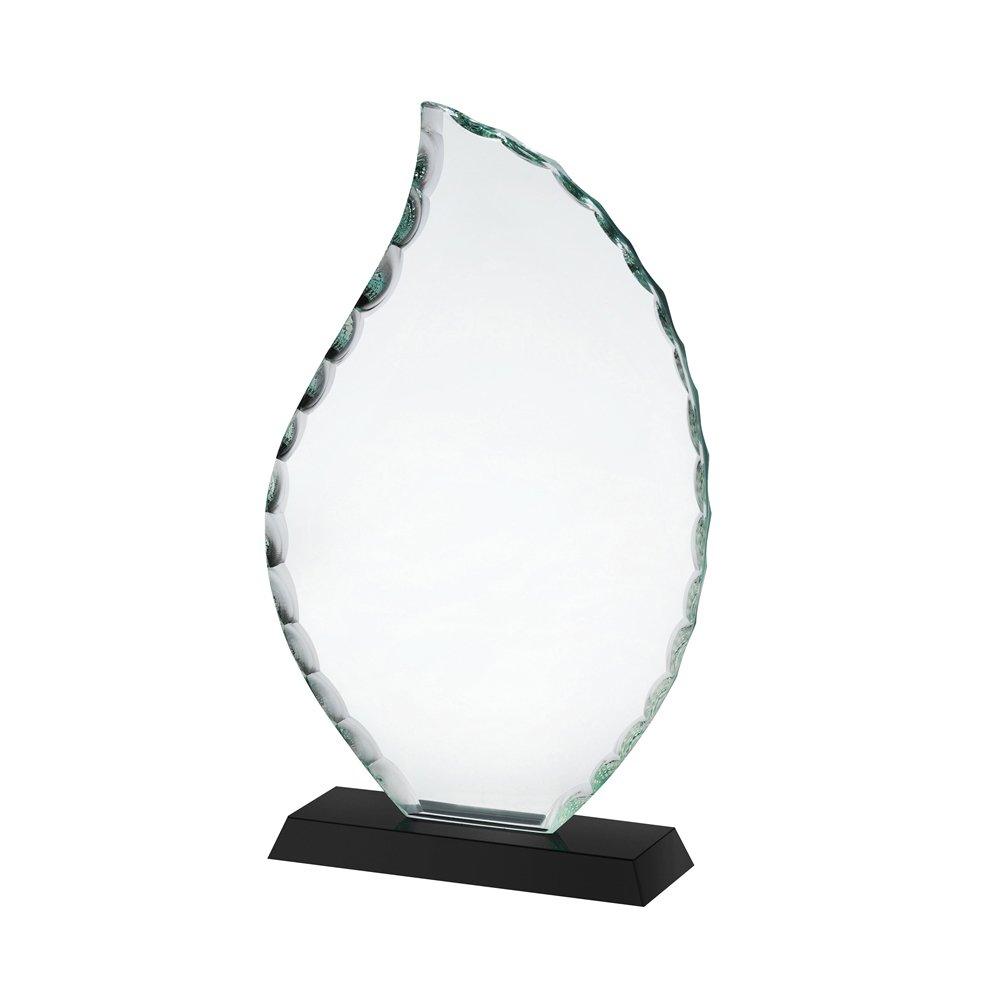 10 Inch Clear & Black Flame Crystal Award