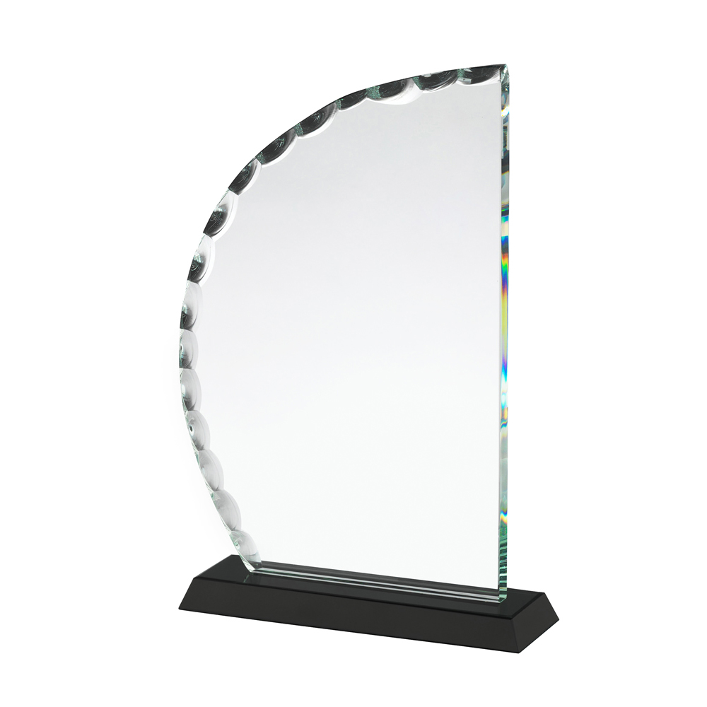 8 Inch Curved Patterned Edge Crystal Award