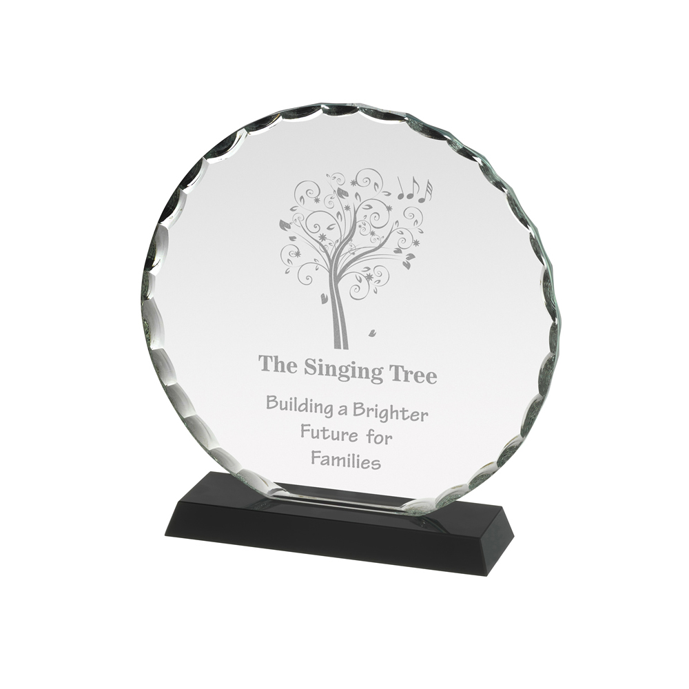 7 Inch Circular With Patterned Edge Crystal Award