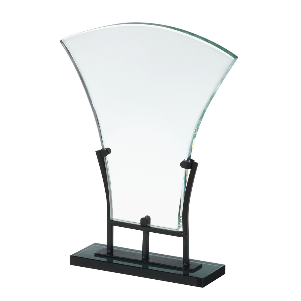 9 Inch Fluted Plaque With Detachable Base Crystal Award
