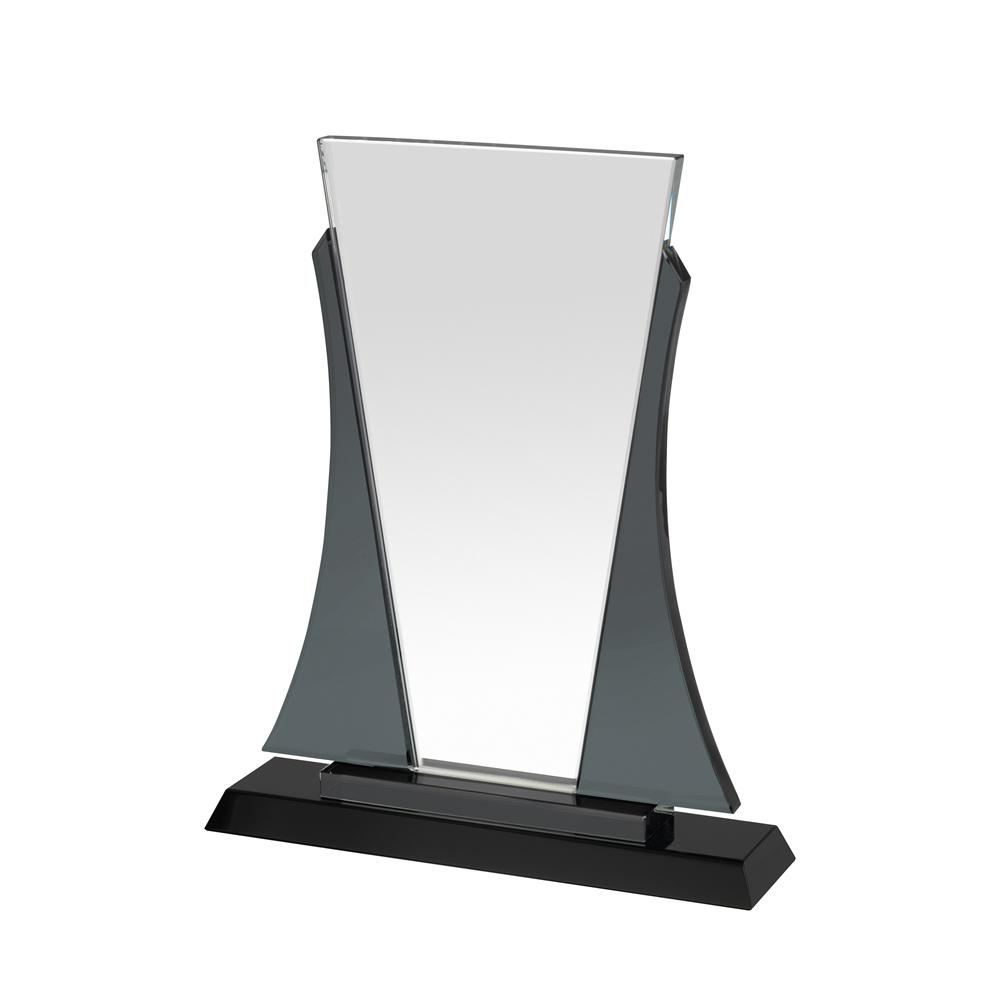 9 Inch Clear & Black Bordered Portrait Crystal Award