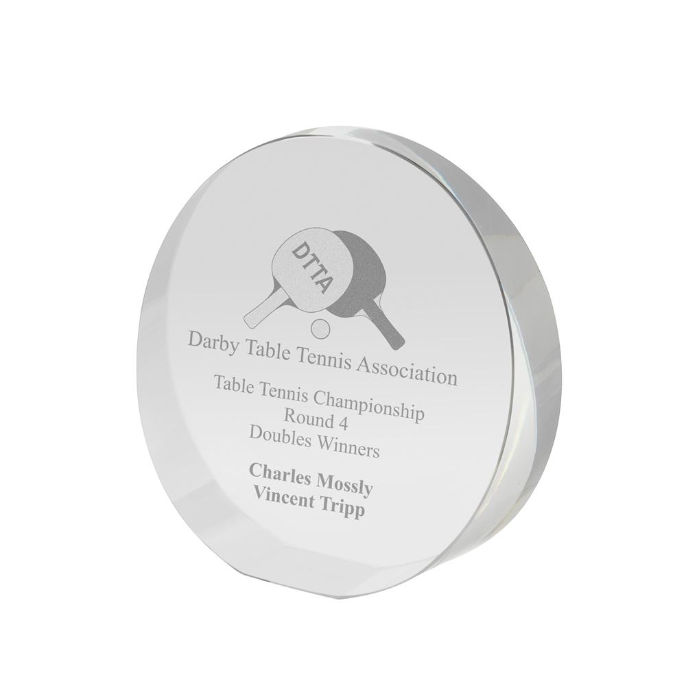 5 Inch Circular Free Standing Crystal Award