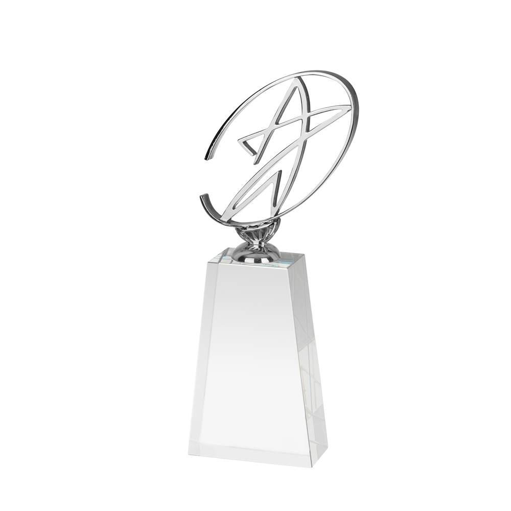 8 Inch Solid Base & Free Flow Star Crystal Award