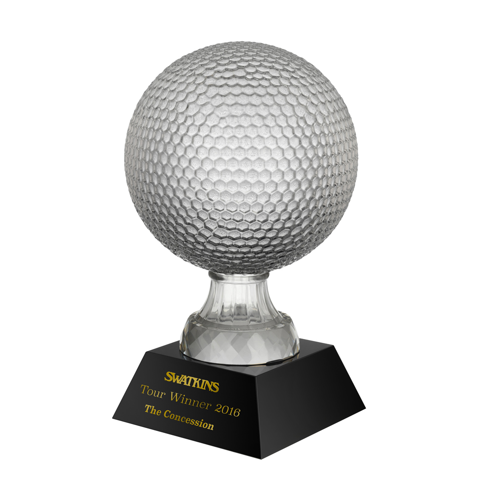 7 Inch Large Golf Ball Golf Crystal Award