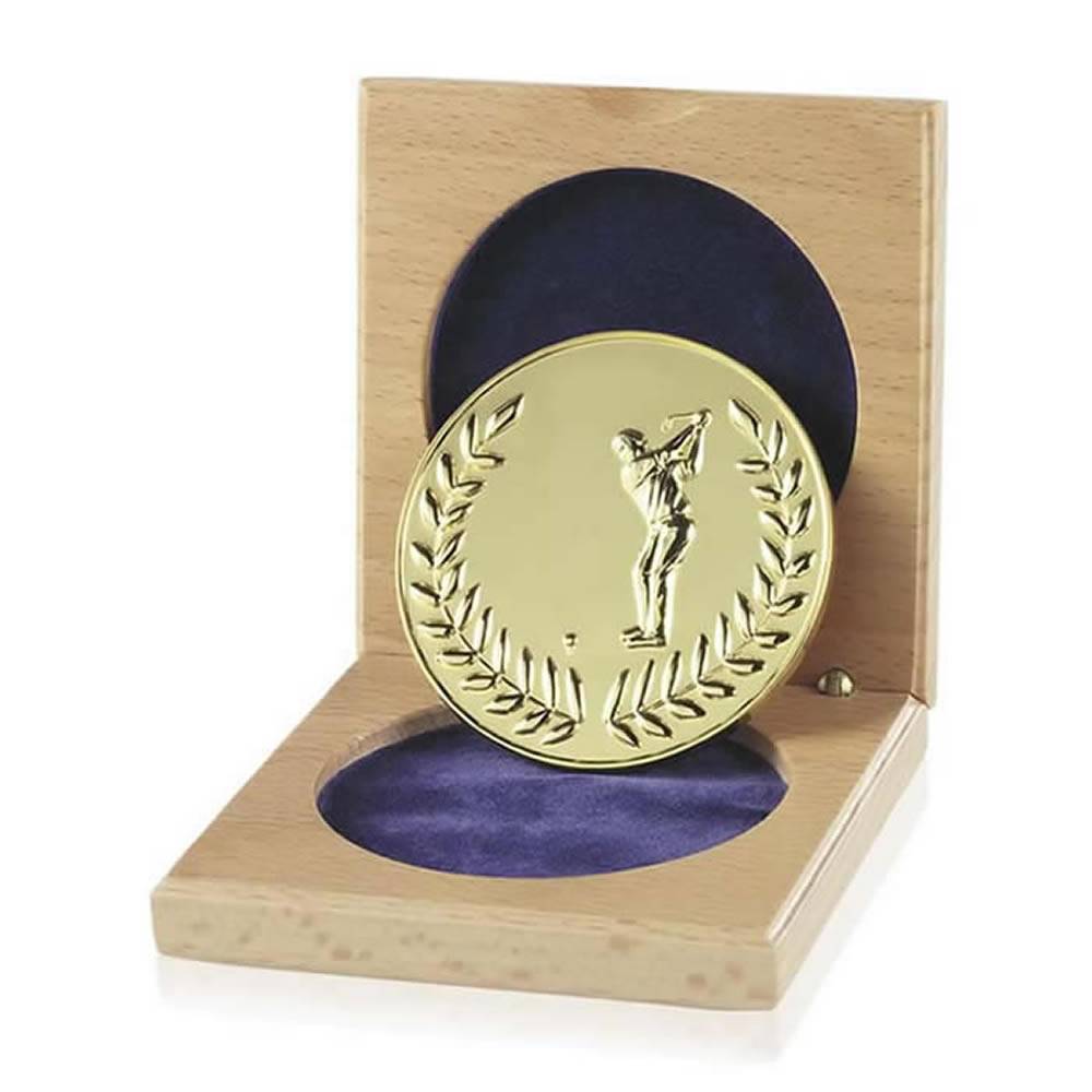 66mm Male Golfer Cased Gold Medal