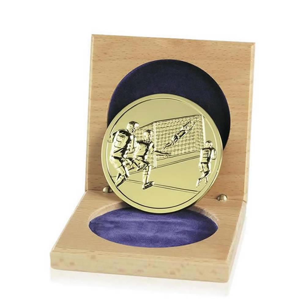 66mm Gold Finish Cased Football Emblem Medal