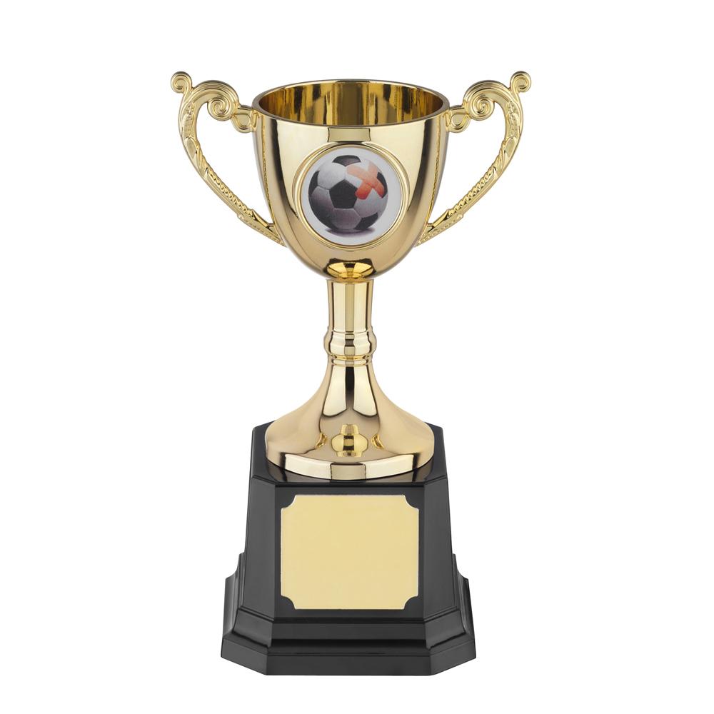 6 Inch Gold Finish Leaf Handle Worldwide Trophy Cup
