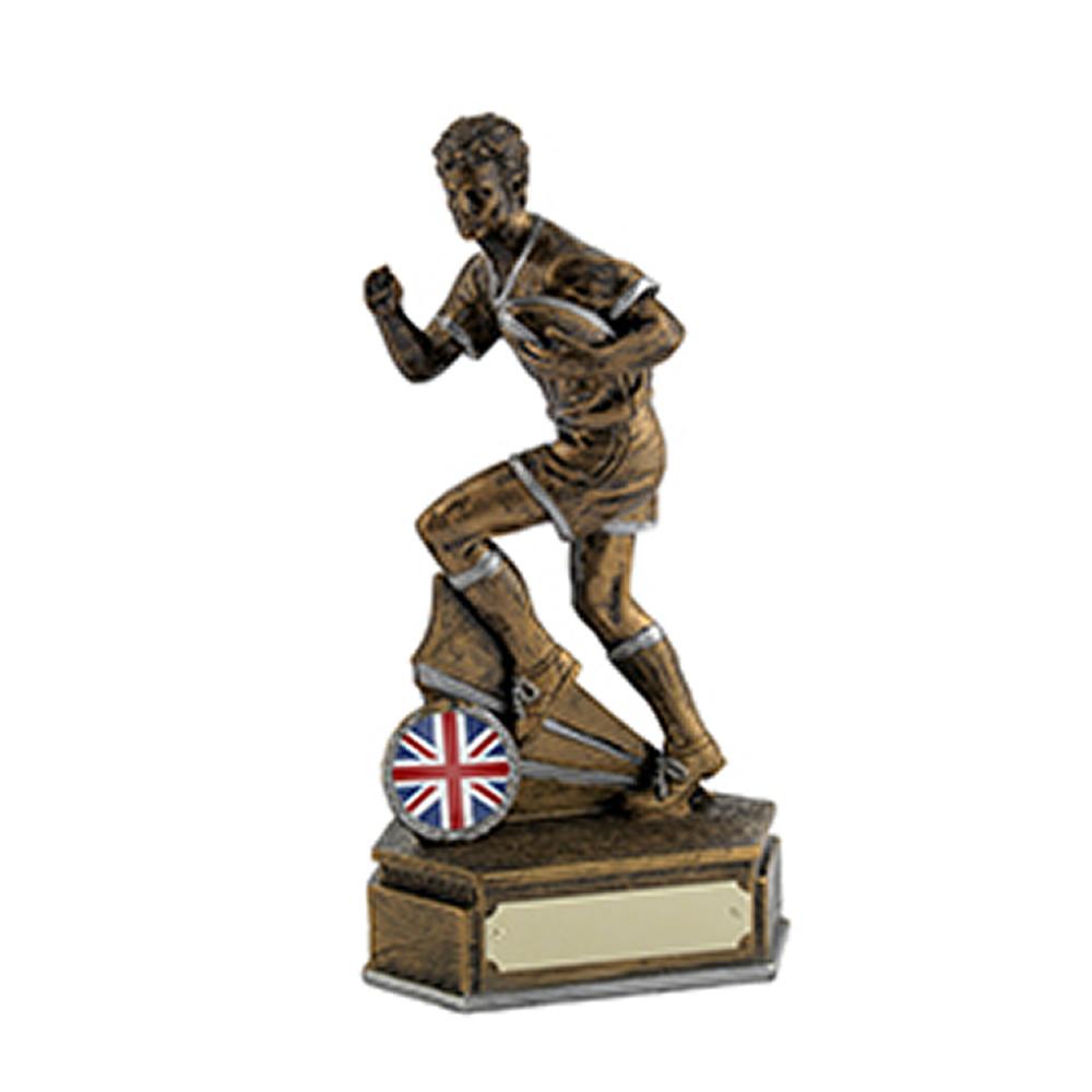 5 Inch Antique Gold Rugby Runner Rugby Golden Lion Award