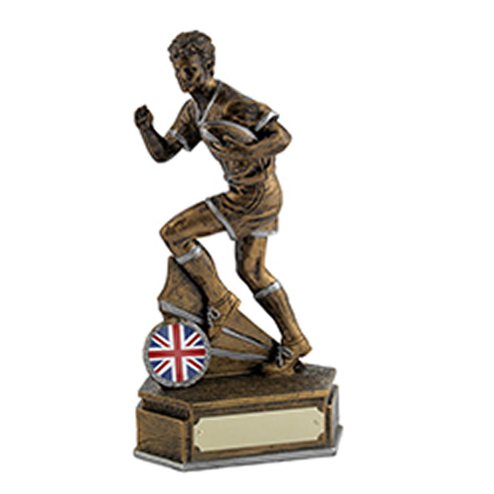 6 Inch Antique Gold Rugby Runner Rugby Golden Lion Award