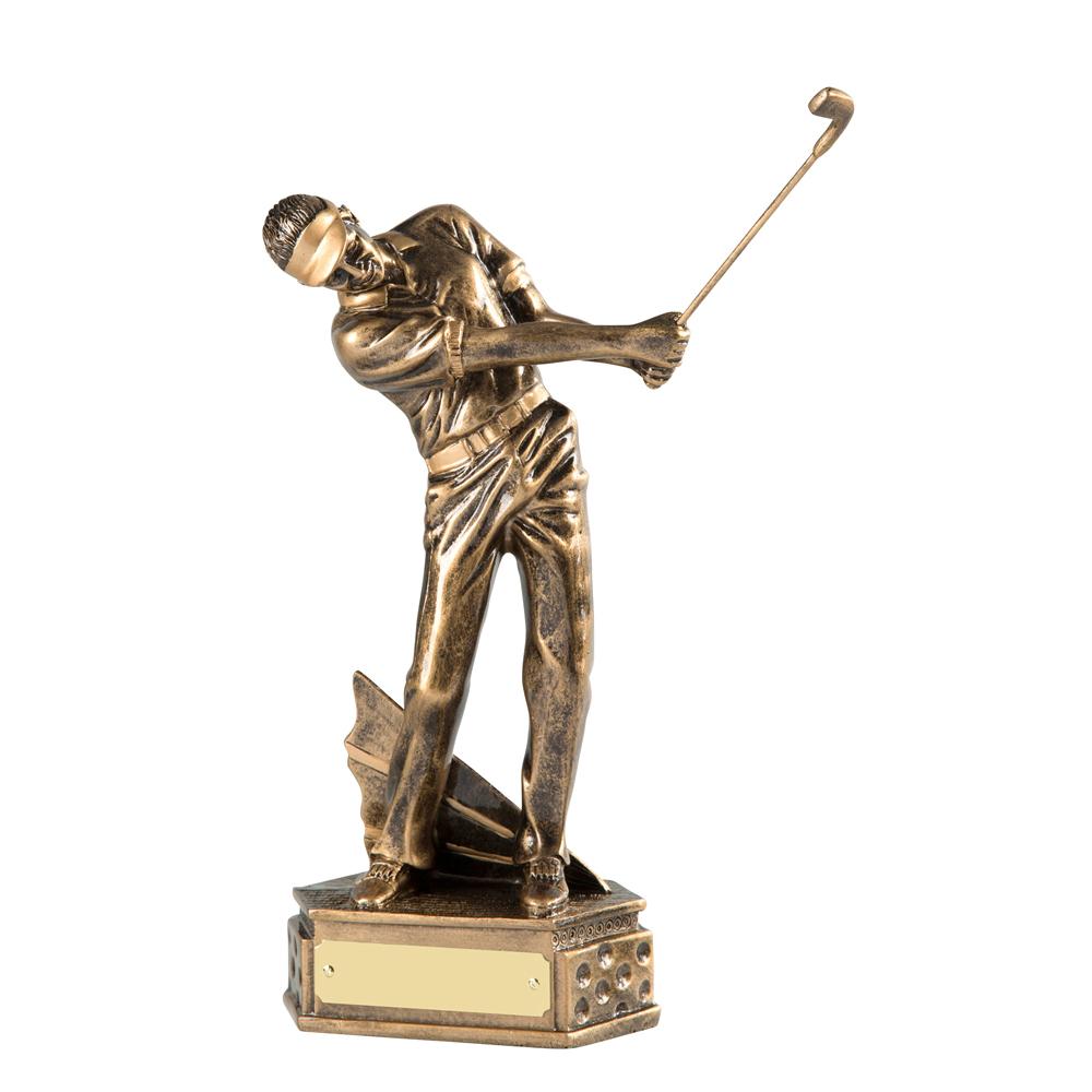 8 Inch Follow Through Golf Golden Lion Figure Award